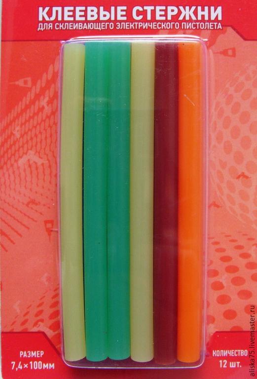 Аппликации, вставки, отделка ручной работы. Ярмарка Мастеров - ручная работа. Купить Клеевые стержни 7мм цветные. Handmade. Разноцветный