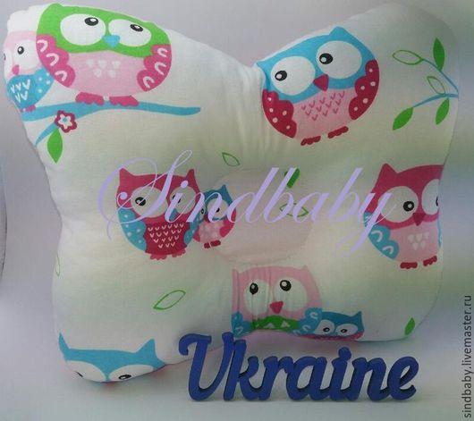 """Для новорожденных, ручной работы. Ярмарка Мастеров - ручная работа. Купить Подушка ортопедическая для новорожденных """"Совушка"""", розовая. Handmade. Розовый"""