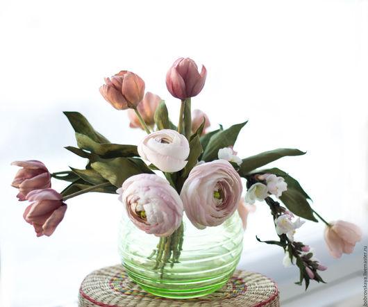 Цветы ручной работы. Ярмарка Мастеров - ручная работа. Купить Цветы из шелка.. Интерьерный букет. Handmade. Бледно-розовый, ранункулюсы