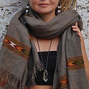 Палантин/шаль из 100% шерсти яка с этнической вышивкой