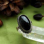 Украшения handmade. Livemaster - original item Ring with black obsidian. Handmade.
