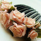 """Свадебный салон ручной работы. Ярмарка Мастеров - ручная работа Гребень для волос """"Чайные розы"""". Handmade."""