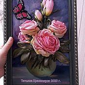 """Картины ручной работы. Ярмарка Мастеров - ручная работа Розы ,,Старая Англия """". Картина вышитая лентами.. Handmade."""