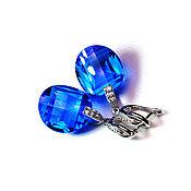"""Украшения ручной работы. Ярмарка Мастеров - ручная работа """"Sun Blue"""" серьги серебро с крупными синими топазами. Handmade."""