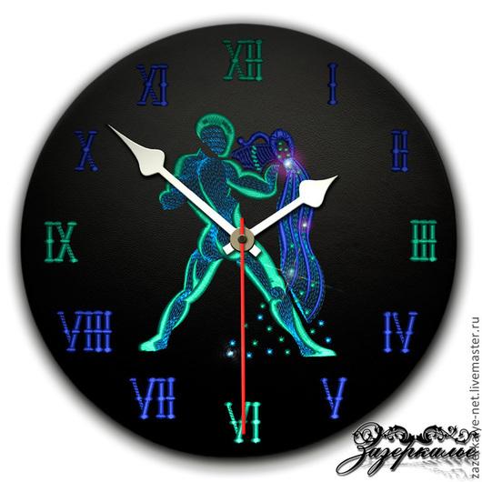 """Часы для дома ручной работы. Ярмарка Мастеров - ручная работа. Купить Часы из натуральной кожи """"Водолей"""". Handmade. Часы интерьерные"""