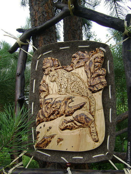 """Животные ручной работы. Ярмарка Мастеров - ручная работа. Купить панно """"Снежный барс"""". Handmade. Ирбис, горы, корни"""