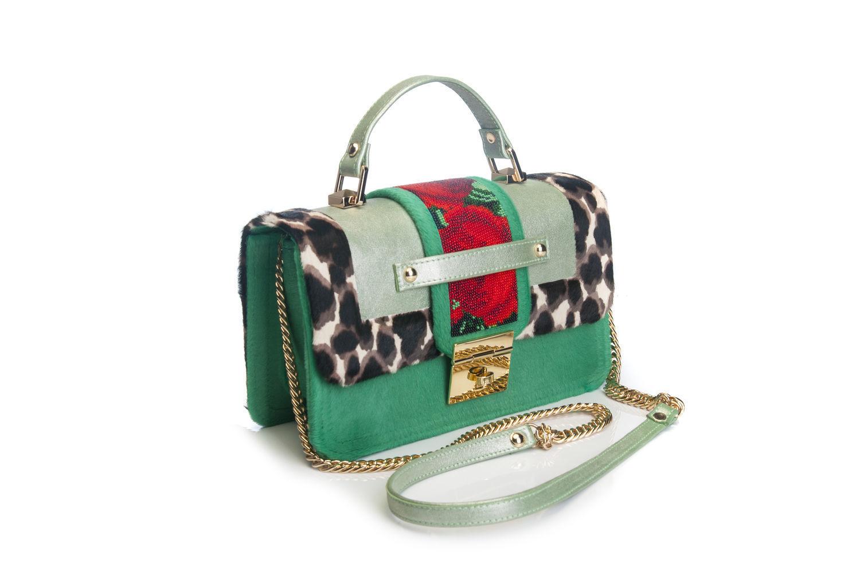 Exclusive bag made of pony fur with beading 'greens, Classic Bag, Kiev,  Фото №1
