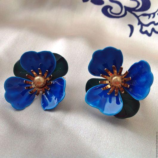Винтажные украшения. Ярмарка Мастеров - ручная работа. Купить Клипсы SARAH COVENTRY синий цветок, винтаж. Handmade. Клипсы