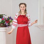 Русский стиль handmade. Livemaster - original item Dress linen Russian folk viburnum red. Handmade.