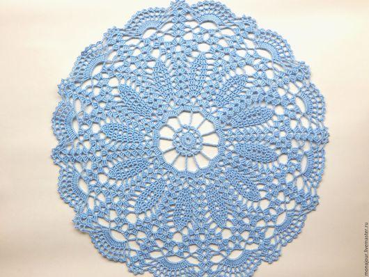 Текстиль, ковры ручной работы. Ярмарка Мастеров - ручная работа. Купить Салфетка вязаная крючком. Handmade. Голубой, салфетка