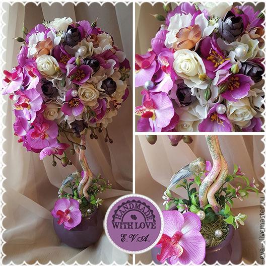 """Топиарии ручной работы. Ярмарка Мастеров - ручная работа. Купить Топиарий """"Цветущая орхидея"""", дерево счастья. Handmade. Фуксия"""
