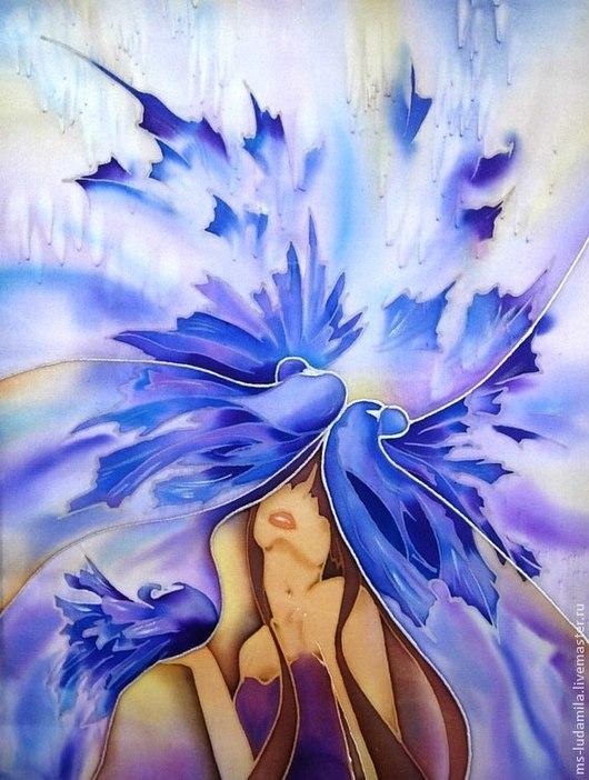 """Фантазийные сюжеты ручной работы. Ярмарка Мастеров - ручная работа. Купить Батик Картина """"Голубка"""". Handmade. Тёмно-фиолетовый, Голуби"""