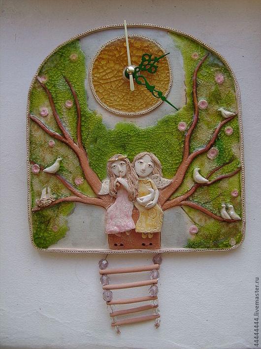 Часы для дома ручной работы. Ярмарка Мастеров - ручная работа. Купить Часы Ангелы на Древе Керамика. Handmade. Зеленый, ангелы