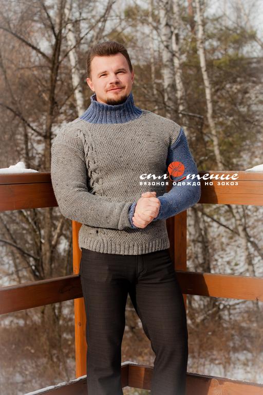 """Для мужчин, ручной работы. Ярмарка Мастеров - ручная работа. Купить Мужской свитер """"Асимметрия"""". Handmade. Серый, свитер с косами"""