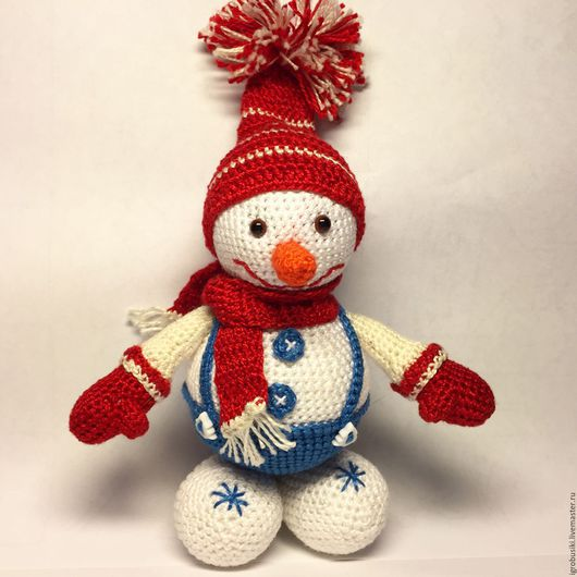 Развивающие игрушки ручной работы. Ярмарка Мастеров - ручная работа. Купить Вязаный крючком снеговик в шапочке. Handmade. Белый, зима