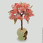 Цветы и флористика handmade. Livemaster - original item Miniature tree of happiness from chalcedony in a vase of onyx. Handmade.