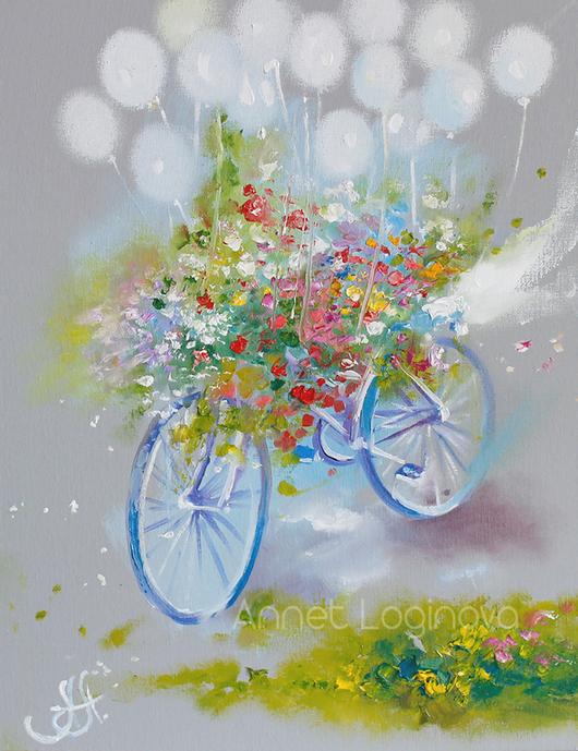 Картины цветов ручной работы. Ярмарка Мастеров - ручная работа. Купить Be Happy. Handmade. Картина на холсте, цветущий велосипед, для нее