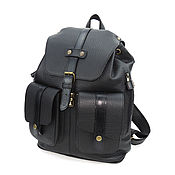 Сумки и аксессуары handmade. Livemaster - original item Black men`s leather backpack knight. Handmade.