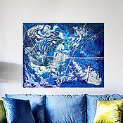 Картины и панно ручной работы. Ярмарка Мастеров - ручная работа Картина в стиле абстракции в синих, голубых и белых тонах Самолеты. Handmade.