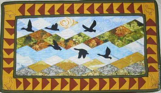 """Фантазийные сюжеты ручной работы. Ярмарка Мастеров - ручная работа. Купить Квилт """"Летят гуси"""". Handmade. Разноцветный, летят гуси"""