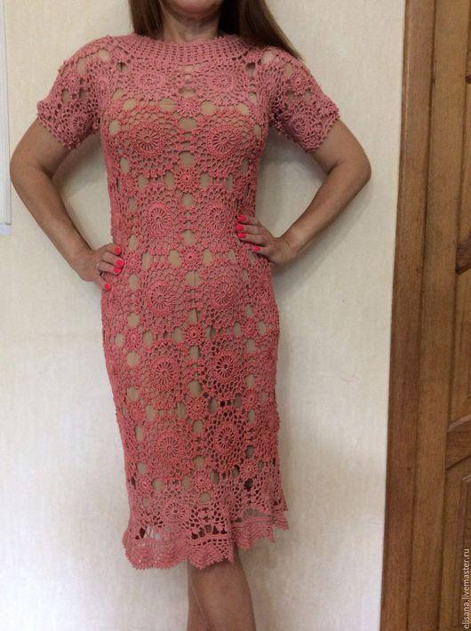 """Платья ручной работы. Ярмарка Мастеров - ручная работа. Купить Платье из пакистанского хлопка """"Омбре"""". Handmade. Коралловый, платье коктейльное"""