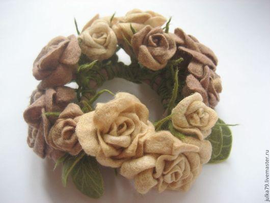 Заколки ручной работы. Ярмарка Мастеров - ручная работа. Купить Розы. Handmade. Бежевый, юлия валовая, валяние из шерсти