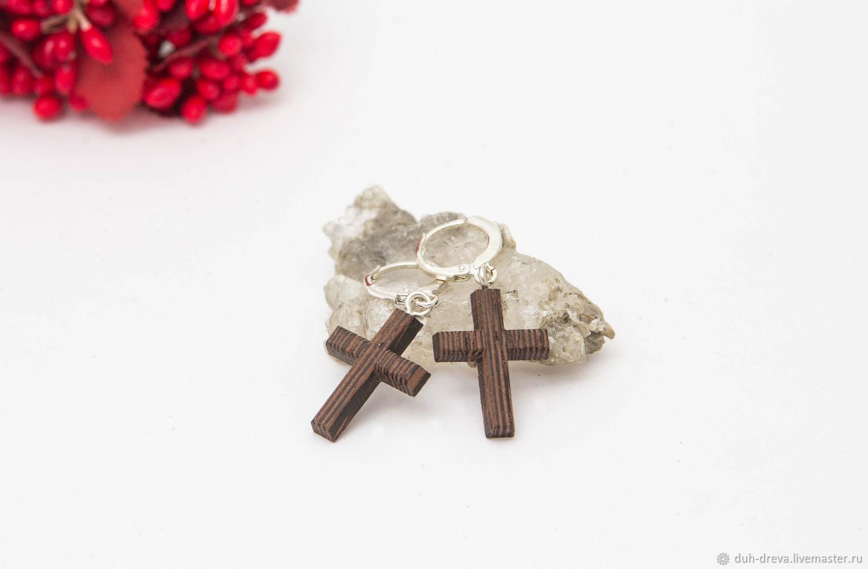 Cross earrings made of wenge wood, Earrings, Vladimir,  Фото №1