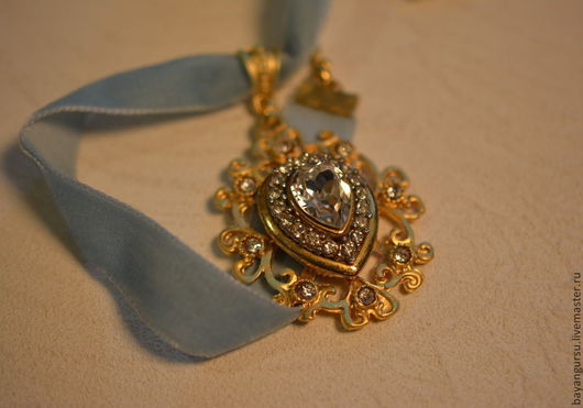 """Кулоны, подвески ручной работы. Ярмарка Мастеров - ручная работа. Купить бархотка """"Blue diamond"""". Handmade. Золотой, позолоченная фурнитура"""