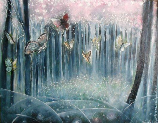 """Фантазийные сюжеты ручной работы. Ярмарка Мастеров - ручная работа. Купить Картина """"Розовый лес"""" фэнтези. Handmade. Розовый"""