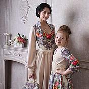 Одежда ручной работы. Ярмарка Мастеров - ручная работа Платье из павловопосадского платка сон бабочки для мамы и дочки. Handmade.