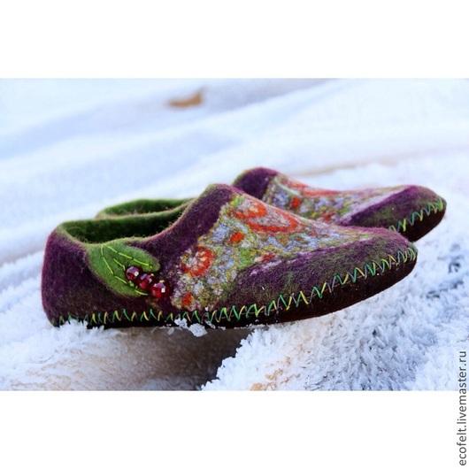 Обувь ручной работы. Ярмарка Мастеров - ручная работа. Купить Тапочки - Old Story. Handmade. Бордовый, тапочки, тапочки валяные