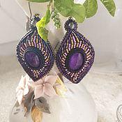 Украшения handmade. Livemaster - original item Earrings with amethyst, gold and purple small glass beads, pearls. Handmade.