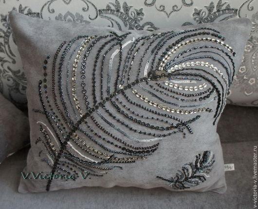 """Текстиль, ковры ручной работы. Ярмарка Мастеров - ручная работа. Купить Подушка """" Перо павлина"""".... Handmade. Серый, перо"""