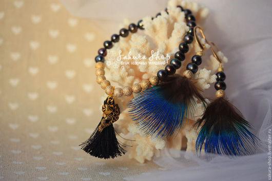 Кулоны, браслеты, серьги ручной работы. Ярмарка Мастеров - ручная работа. Купить браслет и серьги с натуральным жемчугом `Гаитянская принцесса`. Handmade.