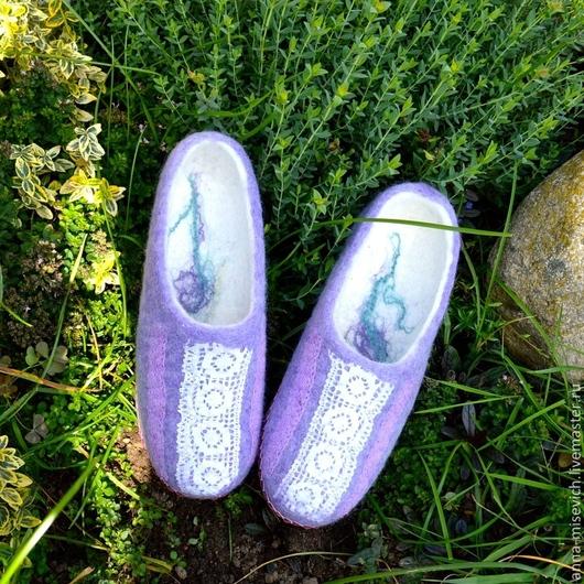 """Обувь ручной работы. Ярмарка Мастеров - ручная работа. Купить Тапочки """"Лаванда"""". Handmade. Сиреневый, Тапочки ручной работы"""