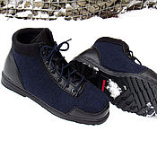 Felt boots handmade. Livemaster - original item boots: Felted men`s shoes Dark blue.. Handmade.