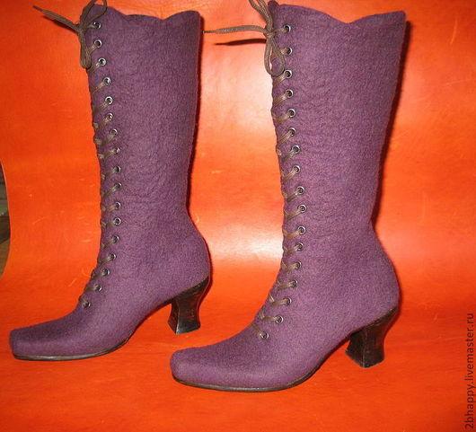 Обувь ручной работы. Ярмарка Мастеров - ручная работа. Купить Валяные высокие ботинки Hello to the Queen. Handmade.