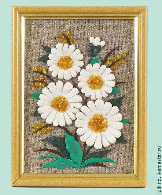 Картины цветов ручной работы. Ярмарка Мастеров - ручная работа. Купить Ромашковое лето. Handmade. Белый, цветы из кожи