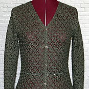 Одежда handmade. Livemaster - original item Cashmere jacket with silk crochet. Olive with silver.. Handmade.