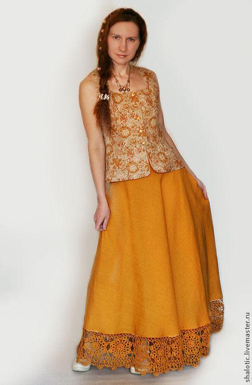 Льняная юбка в пол с кружевом ручной работы, автор Юлия Льняная сказка