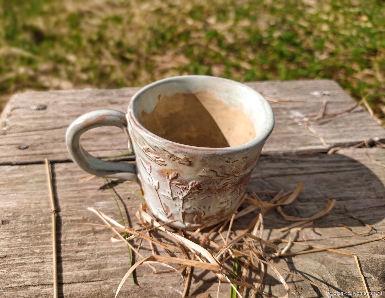 Чашка керамическая для эспрессо 100 мл с отпечатком растений, Кружки и чашки, Санкт-Петербург,  Фото №1