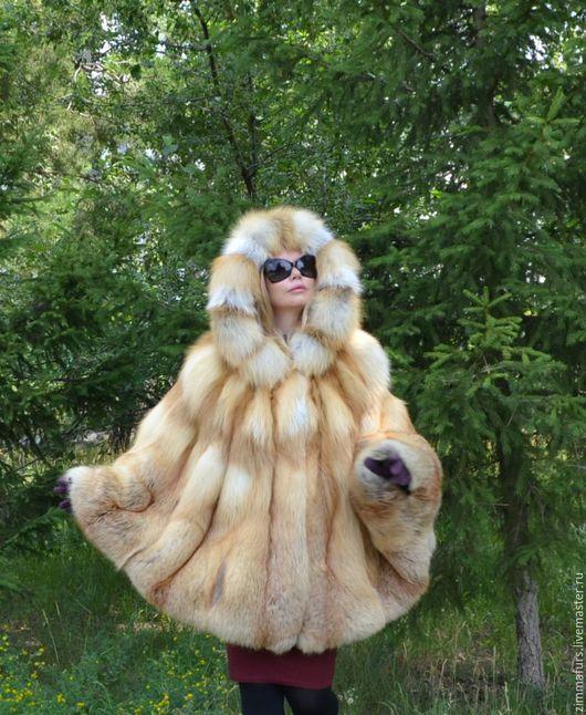 Верхняя одежда ручной работы. Ярмарка Мастеров - ручная работа. Купить Пончо с капюшоном из меха сибирской рыжей лисы.. Handmade.