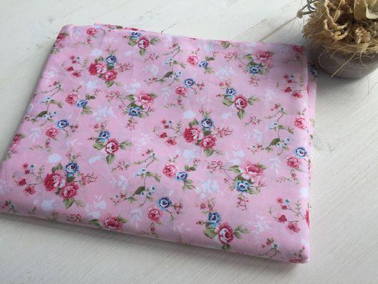 """Шитье ручной работы. Ярмарка Мастеров - ручная работа. Купить Ткань хлопок """"Цветочки"""" на розовом фоне №2. Handmade. Комбинированный"""