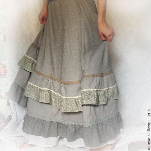 """Юбки ручной работы. Ярмарка Мастеров - ручная работа. Купить Юбка """"Утренний туман"""". Handmade. Бежевый, длинная юбка, серый"""