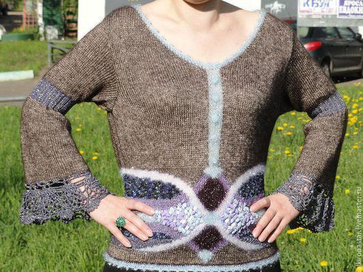 Кофты и свитера ручной работы. Ярмарка Мастеров - ручная работа. Купить Кофта коричневая TESSA. Handmade. свитер розовый желтый