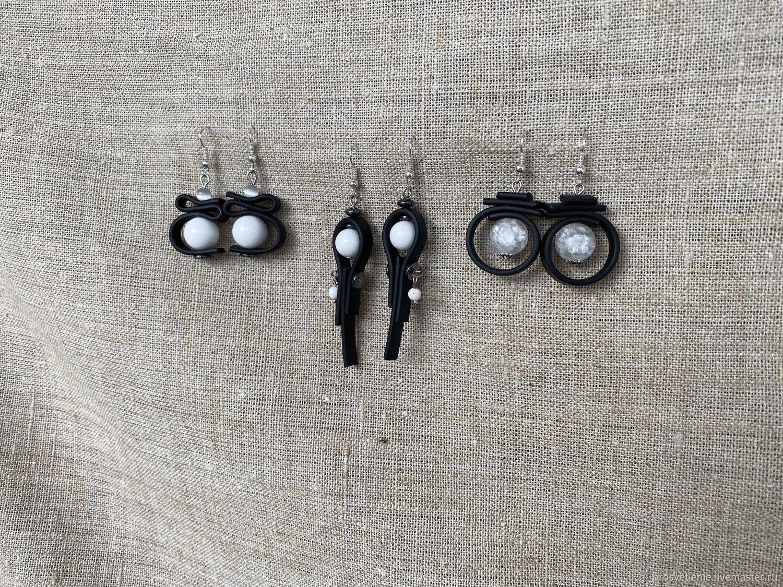 Earrings unusual, stylish earrings stones with rubber, Earrings, Voronezh,  Фото №1