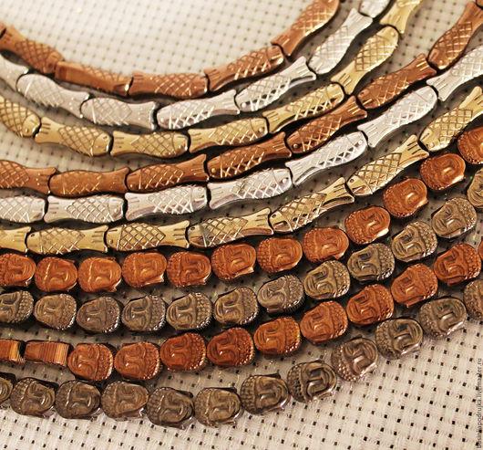 Резные бусины гематита в форме рыбок и головок. Цвет: античное золото, серебро и античная бронза. Цена за 1 шт.: 37 руб.