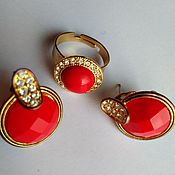 Винтаж handmade. Livemaster - original item Red Coral with Cubic Zirconia Earrings and Ring USA 1980.. Handmade.
