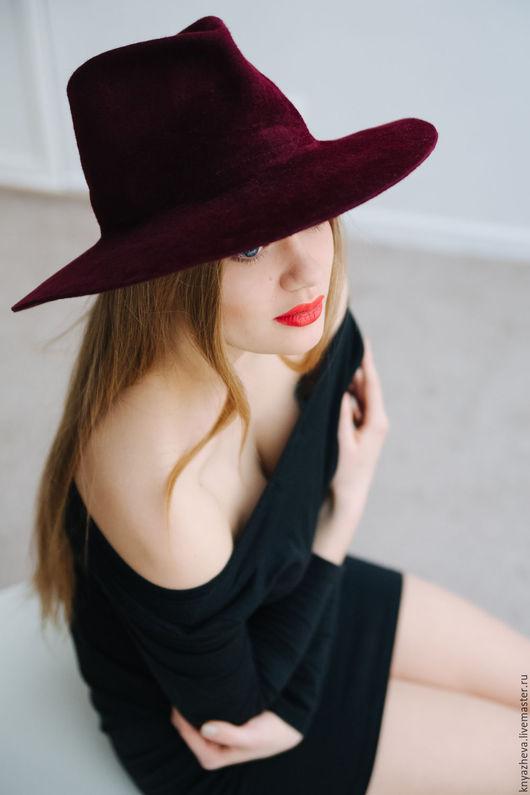 """Шляпы ручной работы. Ярмарка Мастеров - ручная работа. Купить Шляпа из нежного велюра  """" Марсала  """".. Handmade. Бордовый"""