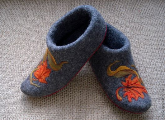 """Обувь ручной работы. Ярмарка Мастеров - ручная работа. Купить Тапочки """"Осенний вальс"""". Handmade. Темно-серый"""